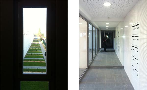 Jardins et hall d'entrée de 16 logements collectifs et 12 maisons individuelles, la Cité Renault aux Mureaux