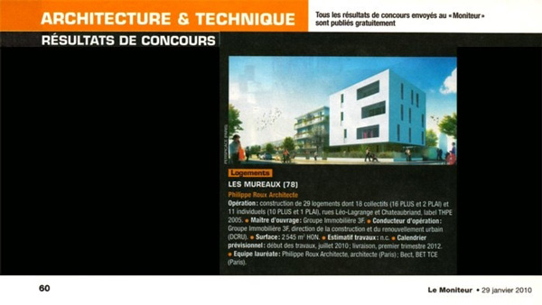 Article paru dans Architectures & Techniques sur la Cité Renault aux Mureaux