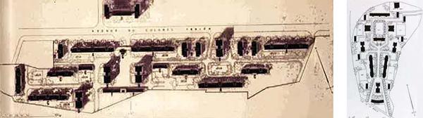 Plans originals des cités Colonel Fabien et Paul Eluard, construits en 1955 par André Lurçat (424 et 303 logements) à Saint-Denis