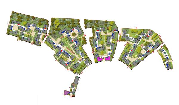 Plan masse de la rénovation urbaine du quartier des Hautes Noues de Denis Honegger construit en 1965 à Villiers-sur-Marne