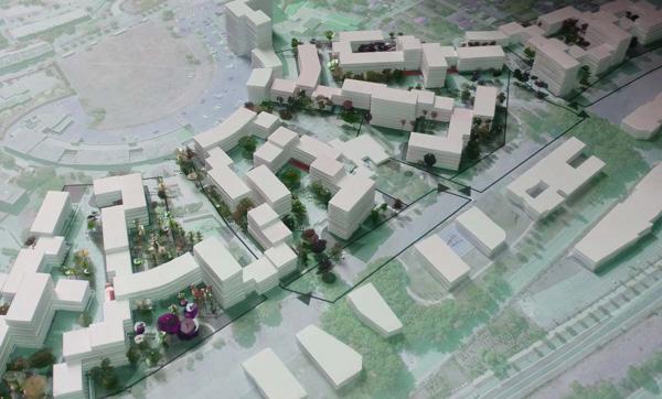 Maquette du projet de rénovation urbaine du quartier des Hautes Noues de Denis Honegger construit en 1965 à Villiers-sur-Marne