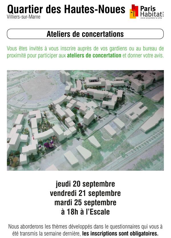 Ateliers de concentrations, rénovation urbaine du quartier des Hautes Noues à Villiers-sur-Marne
