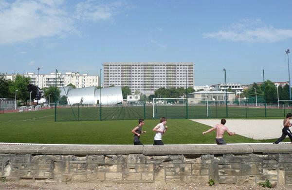Projet de l'immeuble, vue du stade