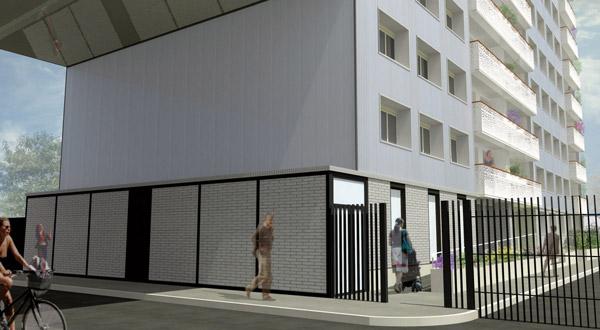 Projet de l'immeuble, porche de jour