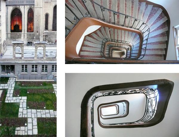 Restructuration & extension de la Maison des Compagnons du Devoir du Tour de France à Paris 4e : cours intérieure et escaliers