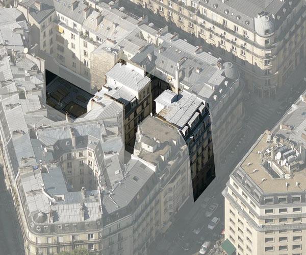 Plan masse de immeuble de bureaux en logements, création d'un commerce et d'un local d'activité (plan climat), 75008